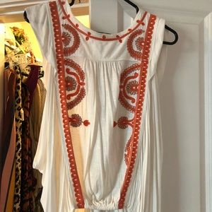 Free People Orange embroidered top